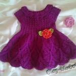 Вязаное платье для девочки крючком. Схема кокетки платья и схема подола вязаного платья крючком